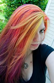 Yellow Pink Purple Hair