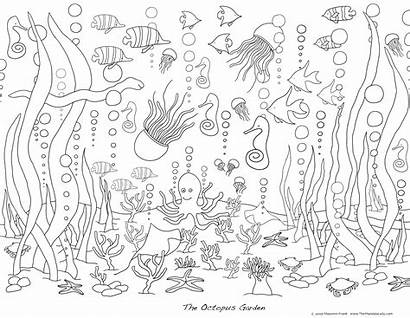 Coloring Pages Ocean Sea Adults Waves Under