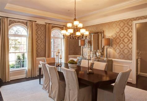 Traditional Dining Room With Interior Wallpaper & Chair