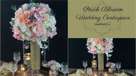 diy tall peach blossom wedding centerpiece diy wedding