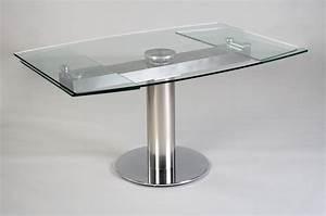 Table Ronde En Verre Pied Central : table contemporaine en verre avec rallonge ~ Teatrodelosmanantiales.com Idées de Décoration