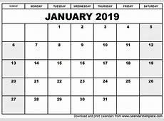 January 2019 Printable Calendar yearly printable calendar