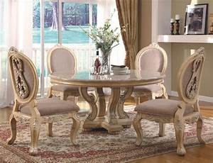 White, Dining, Furnishings, -, Traditional, Antique, White, Dining, Room, Set, With, Round, Table