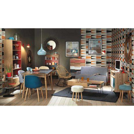 chaise margaux maison du monde chaise vintage en bouleau massif et tissu bleue mauricette
