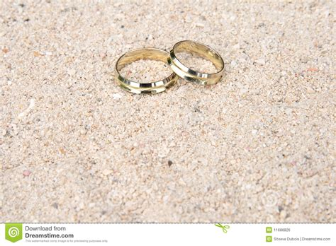 Wedding Rings In The Sand Royalty Free Stock Image