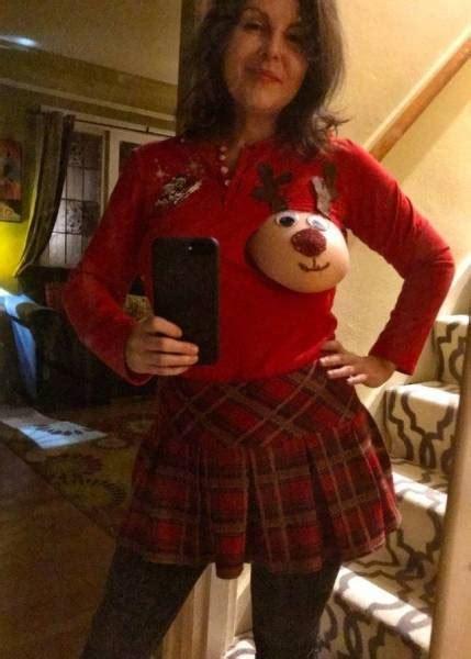 brings christmas spirit  reindeer boobs