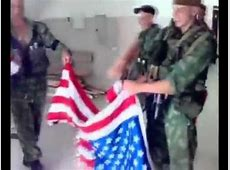 Russian Army burned USA flag Glory to Russia from