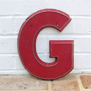 vintage metal sign metal letter g chippy painted by With vintage tin letters