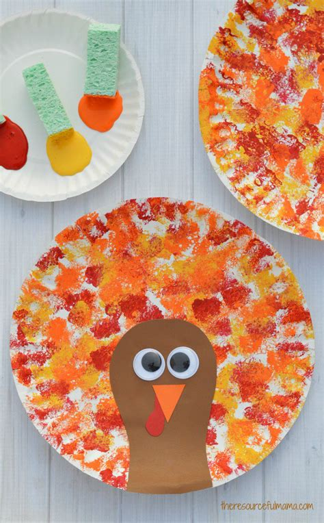 thanksgiving crafts for toddlers sponged painted thanksgiving turkey craft the 5563