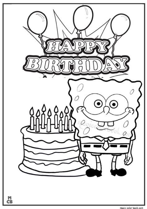 happy birthday sponge bob coloring page mewarnai