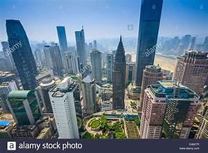 Chongqing, China financial district aerial skyline Stock ...