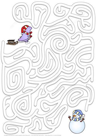 winter maze puzzle  printable puzzle games
