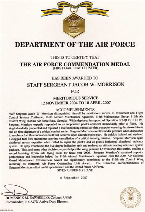 af achievement medal citation examples pictures  pin