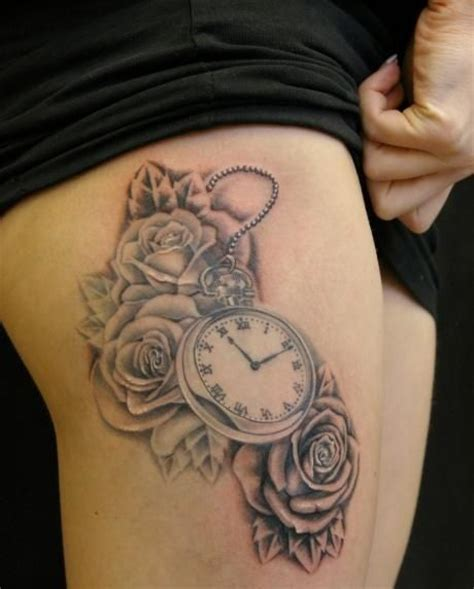 grey ink roses  clock tattoos  thigh tatuaze pinterest tattoo tatting  tatoo