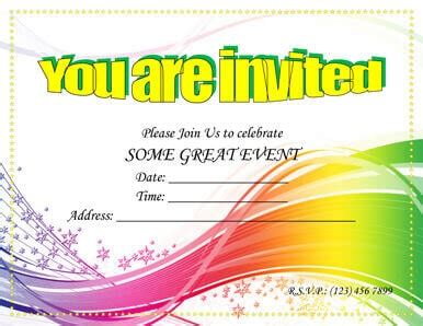 printable party invitation templates  word