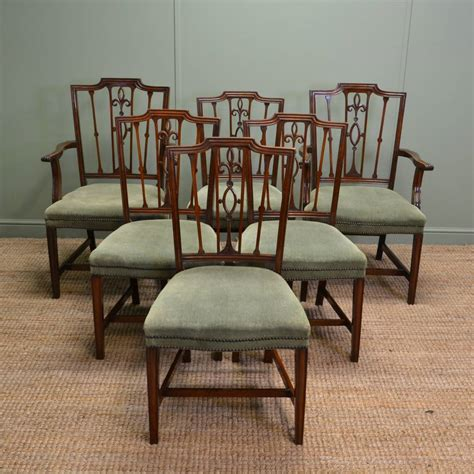 antique dining chair set of six edwardian mahogany antique dining chairs 1267