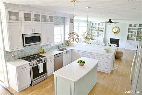 floating wood floor coastal kitchen makeover the reveal