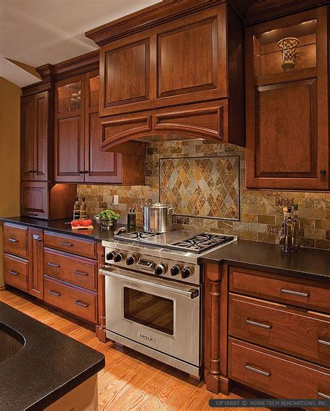 black and kitchen tiles brown cabinet black countertop brown gray subway slate 7841