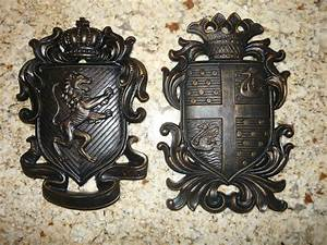 Set of 2 Shield wall plaques coat of arms wall decor