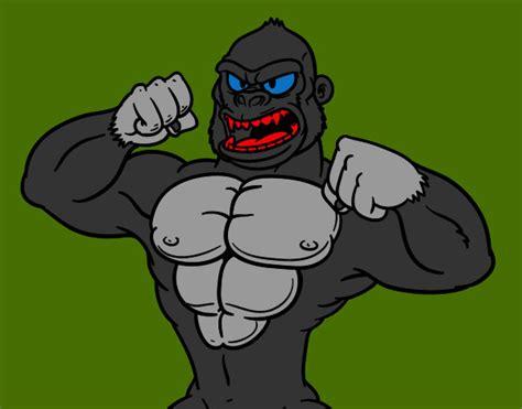 Desenho de Gorila forte pintado e colorido por Marlonn o