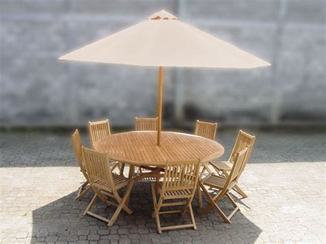 Umbrella And Table Set by Teak Table 8 Chairs And Umbrella Set