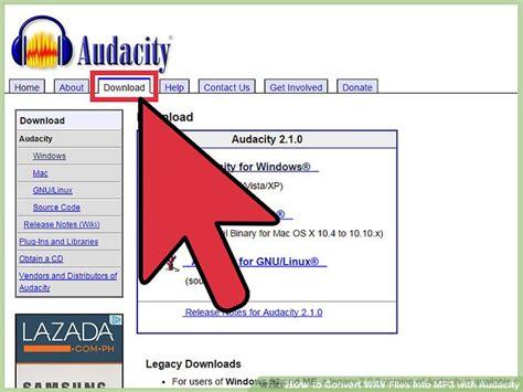 convert wav files  mp  audacity  steps