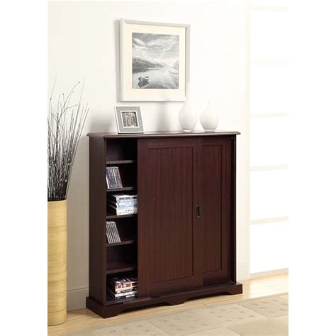 sliding door media cabinet sliding door media storage cabinet in brown 51601