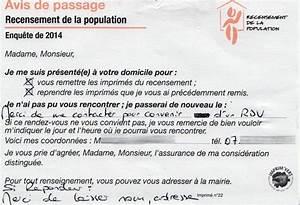 Avis De Passage : recensement 2014 comme une impression de flicage ~ Medecine-chirurgie-esthetiques.com Avis de Voitures