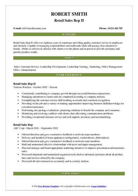 Sales Rep Responsibilities Resume by Retail Sales Rep Resume Sles Qwikresume