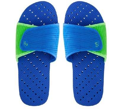 Shower Flip Flops With Holes - showaflops s antimicrobial shower sandal blue lime