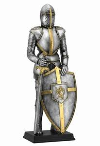 Medieval Knight Wearing Armor with Lion Crest On Shield