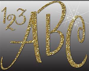 glitter gold alphabet digital clipart letters numbers With big gold glitter letters