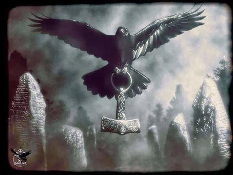 the viking post raven mjolnir runestones
