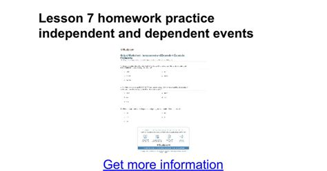independent and dependent events worksheet