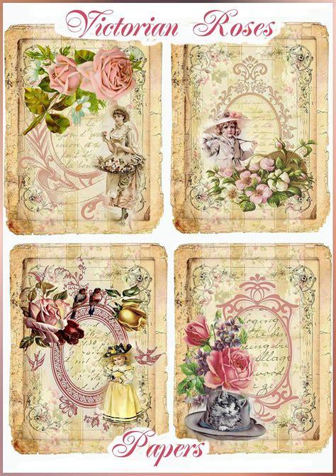vintage victorian roses set   papers  seneca pond