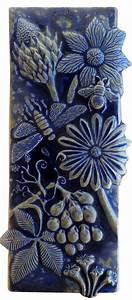 Botanical, And, Bugs, Ceramic, Tile, In, Night, Sky, Glaze, By, Beth, Sherman, Ceramic, Wall, Sculpture