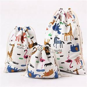 Pure Cotton Canvas Candy Gift Bags Cartoon Animal Printed ...