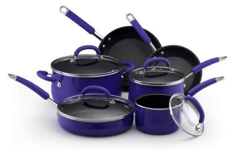 amazoncom rachael ray porcelain nonstick cookware  piece cookware set blue rachel ray