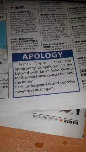 cheating kenyan husband posts apology letter  wife