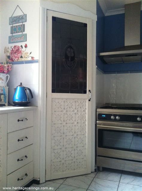 hand painted pressed tin kitchen cabinet doors