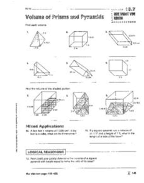volume of prisms pyramids cylinders and cones 8th 9th grade worksheet lesson planet