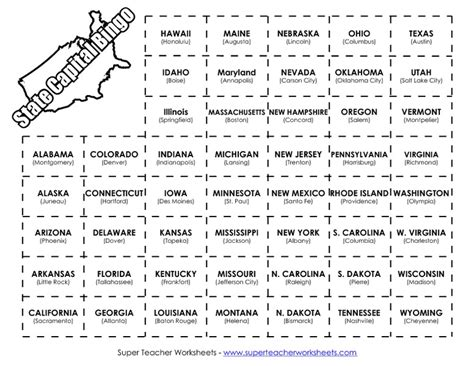 state capital bingo learning for 3rd 5th grade