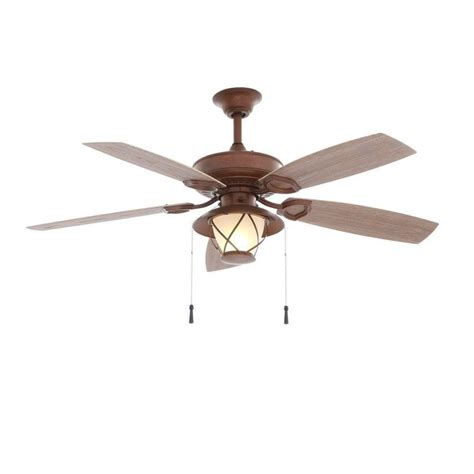 copper ceiling fan with light hton bay glacier bay 52 in indoor outdoor rustic