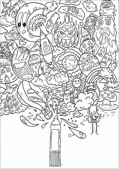 Doodle Coloring Printable Pages Doodling Adults Magic