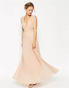lyst asos wedding deep plunge super full pleated maxi With robe bustier asos
