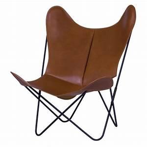 Fauteuil Cuir Design : fauteuil aa butterfly en cuir cognac aa new design ~ Melissatoandfro.com Idées de Décoration