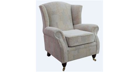 Wing Chair Fireside High Back Armchair Symphony Biscuit Fabric