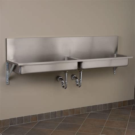 "72"" Double Bowl Stainless Steel Wall Mount Commercial Sink"