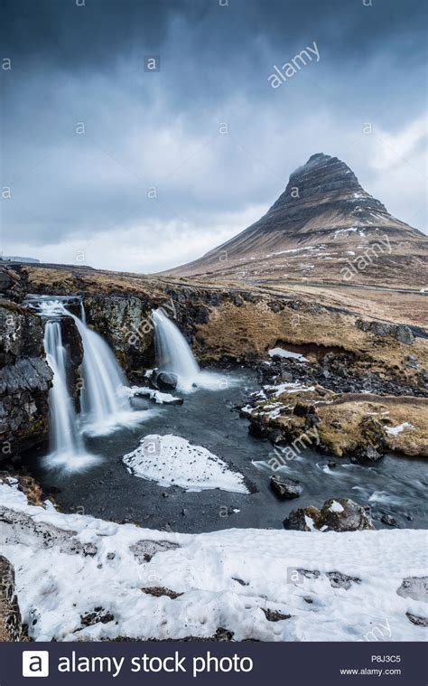 Icelandic Landscape With Waterfall Stock Photos