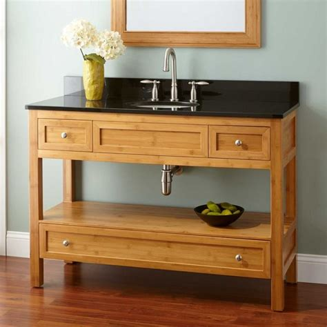 clear varnished chestnut wood narrow despth cabinet vanity stand for undermount sink with 3
